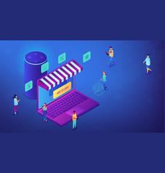 Isometric online shopping and smart speaker vector