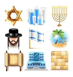 Israel icons set vector