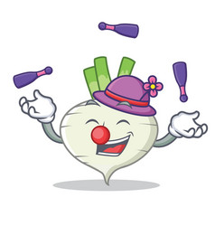 Juggling turnip mascot cartoon style vector
