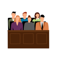 jury trial jurors court in courtroom prosecution vector image