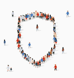 Large group people in form shield vector