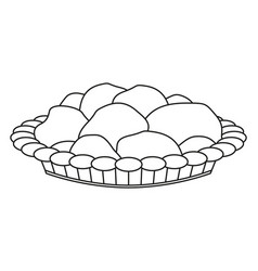 Line art black and white pastry plate vector