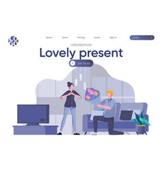 lovely present landing page with header vector image