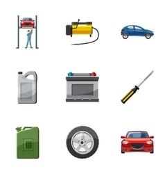 Maintenance car icons set cartoon style vector