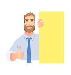 man holding blank banner vector image