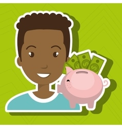 Man piggy coin idea vector