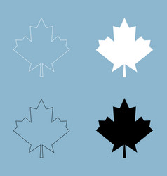 maple leaf the black and white color icon vector image