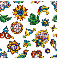 mexican talavera seamless pattern decorative vector image