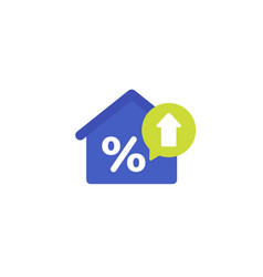 mortgage rate growing flat icon vector image