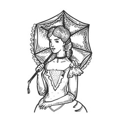 Old fashioned woman and umbrella engraving vector