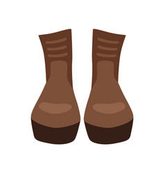 Pair of brown leather boots on vector