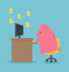 Pig cartoon character works computer vector