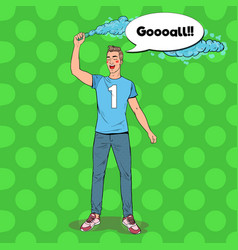 pop art man soccer fan celebrating the victory vector image