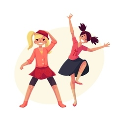 Portrait of teenaged two girls in pink clothes vector