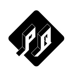 Pq - 2-letter code p and q - monogram or logotype vector