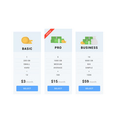 pricing table templates vector image