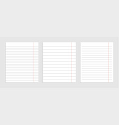 Realistic set blank paper line sheets vector