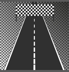 road with finish flag isolated on transparent back vector image