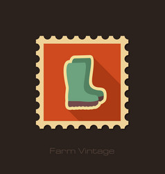Rubber boots gumboots wellies retro flat stamp vector