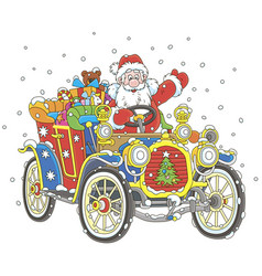 santa claus driving his car with christmas gifts vector image