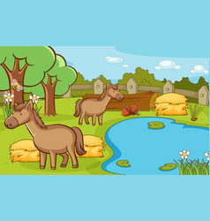 Scene with two horses in farm vector