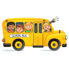 School bus with kids vector