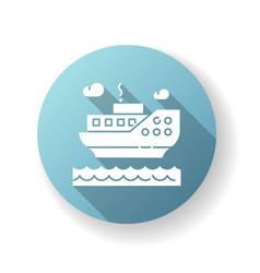 sea cruise blue flat design long shadow glyph icon vector image