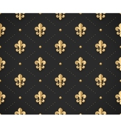 Seamless gold pattern with fleur-de-lys on a dark vector image