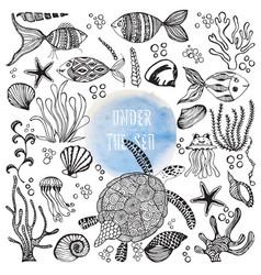 Set hand drawn sea dwellers vector