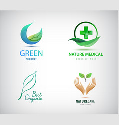 set leaves logos natural cosmetics vector image
