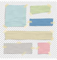 Set paper color ripped pieces different size vector