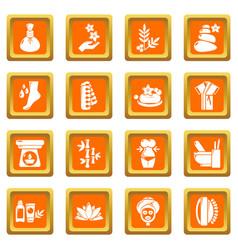 Spa salon icons set orange square vector