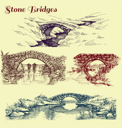 Stone bridges set vector