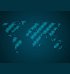 Striped world map blue led light futuristic vector