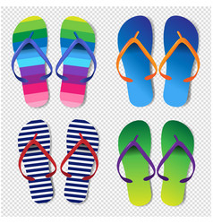 summer colorful flip flops set transparent vector image