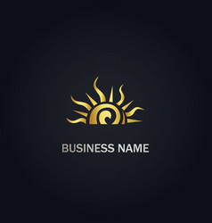 Sun shine abstract gold logo vector