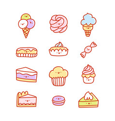 Super cute desserts set vector