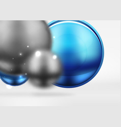 tech blurred spheres and round circles with glossy vector image