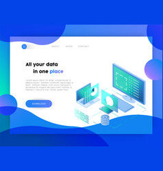 Technology business online app landing page vector
