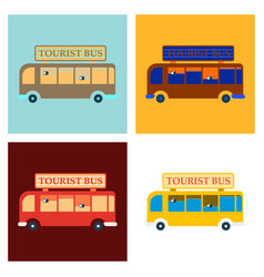 time to travel concept happy family rides bus on vector image