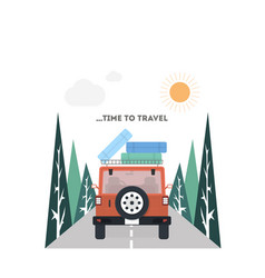 Travel on a car in flat style vector