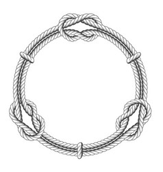 Twisted rope circle - round frame with knots vector