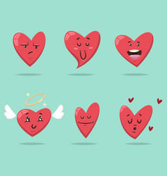 Valentine day heart cartoon character vector