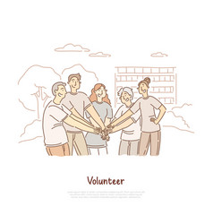 Volunteers doing charity community togetherness vector