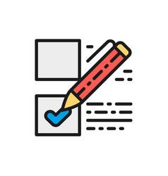 voting check mark on ballot election checklist vector image