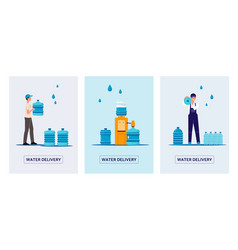 water delivery service banners set with delivery vector image