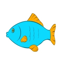 Blue fish icon cartoon style vector image