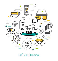 camera view 360 - line art vector image