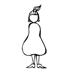 caricature pear or triangle female body shape vector image vector image