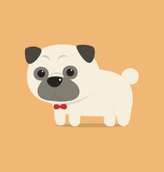 Cute pug dog with red ribbon on neck vector